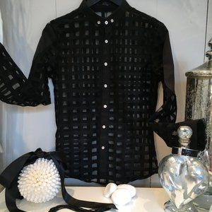 MESHED BUTTON DOWN SHIRT NWOT